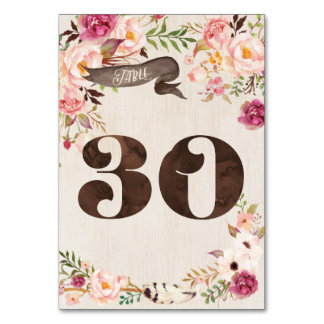 Boho Floral Rustic Wedding Table Number Card 30