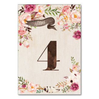 Boho Floral Rustic Wedding Table Number Card 4