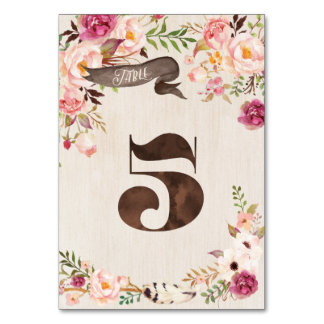 Boho Floral Rustic Wedding Table Number Card 5