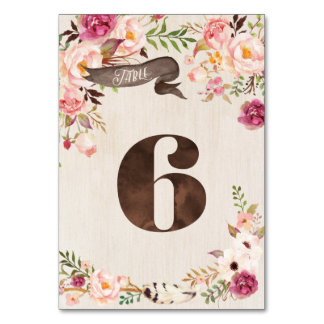 Boho Floral Rustic Wedding Table Number Card 6
