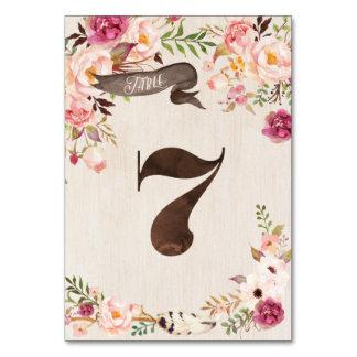 Boho Floral Rustic Wedding Table Number Card 7