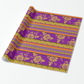 Boho Floral Stripes Purple Mustard Yellow Pattern Wrapping Paper