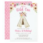Boho Floral Tribal Teepee Wild One 1st Birthday Card
