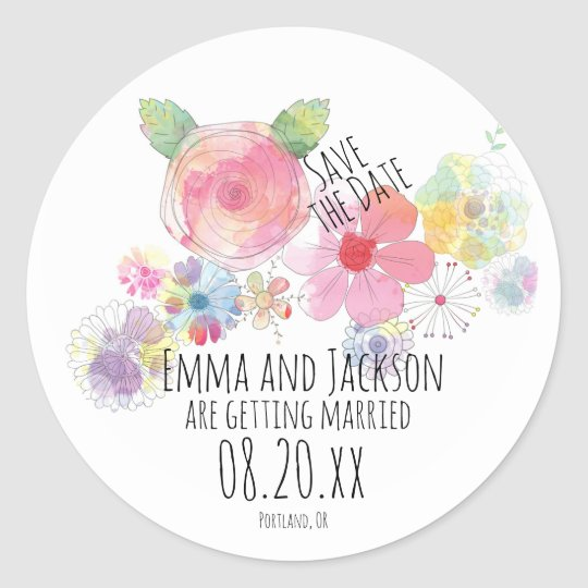 Boho Floral Watercolor Save the Date Wedding Classic