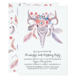 Boho Floral Watercolor Skull Birthday Party Card