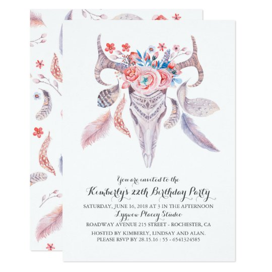 Boho Floral Watercolor Skull Birthday Party Card
