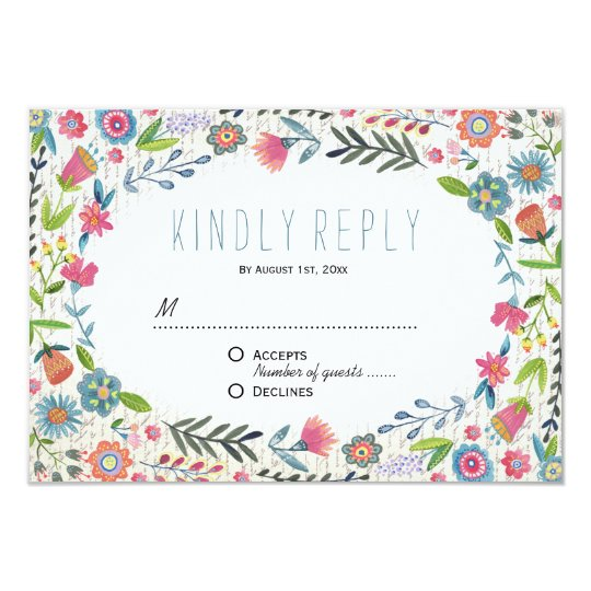 Boho Floral Watercolor Wedding   RSVP Reply Card