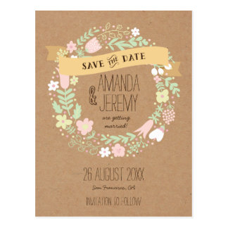 Boho Floral Wreath Pastel Rustic Save the Date Postcard