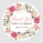 Boho Floral Wreath Thank You Wedding Favour Classic Round Sticker