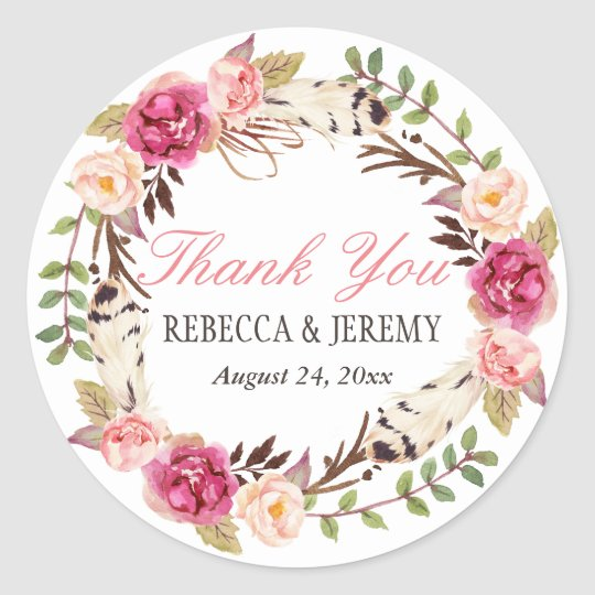 Boho Floral Wreath Thank You Wedding Favour Classic