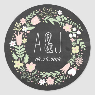 Boho Flower Wreath Rustic Chalkboard Wedding Classic Round Sticker