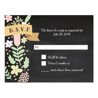 Boho Flower Wreath Rustic Chalkboard Wedding Postcard