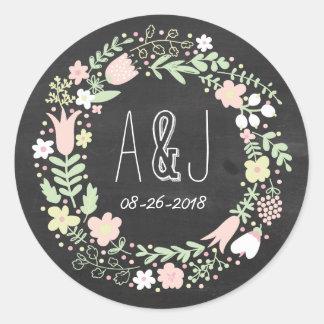 Boho Flower Wreath Rustic Chalkboard Wedding Round Sticker
