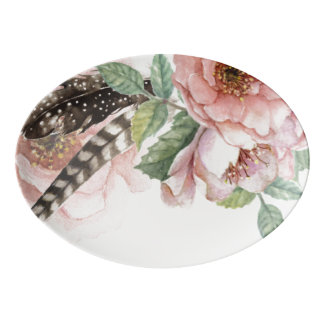 Boho Flowers and Feathers Porcelain Serving Platter