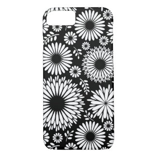 Boho flowers Black and White vector floral pattern iPhone 8/7 Case