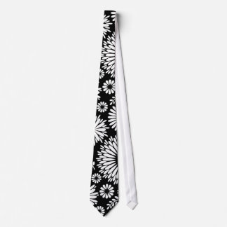 Boho flowers Black and White vector floral pattern Tie