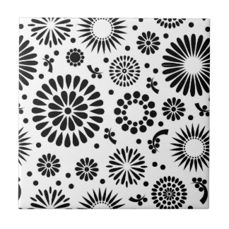 Boho flowers Black and White vector floral pattern Tile