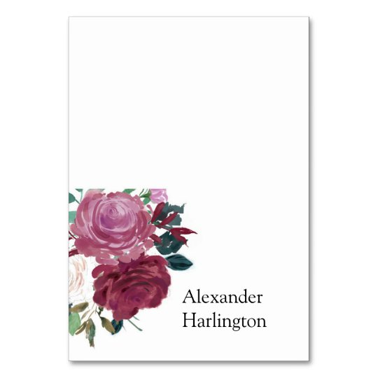 Boho flowers wedding place card. Floral seating Card