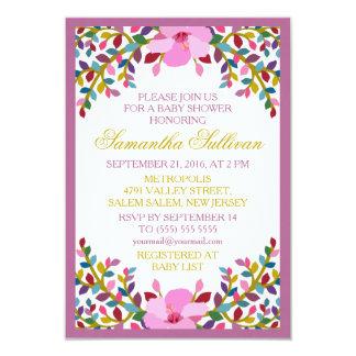 Boho Foliage Hibiscus Baby Shower Invitation