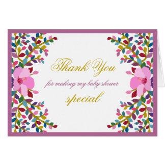 Boho Foliage Hibiscus Thank You Note Card
