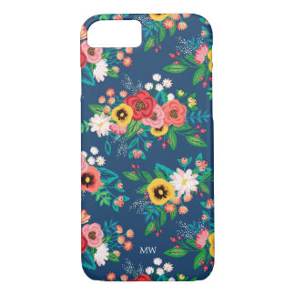 Boho Folk Floral Pattern - Monogram iPhone 8/7 Case