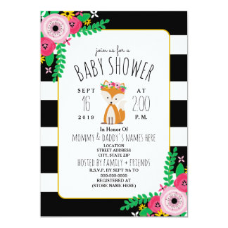 Boho Fox Black + White Stripe Baby Shower Invite
