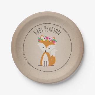 Boho Fox Cardstock Inspired Custom Baby Shower 7 Inch Paper Plate