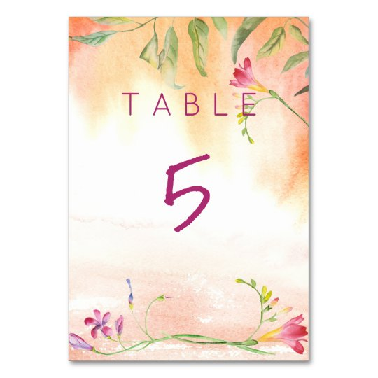 Boho Freesia Pink Pop Wedding Table Card