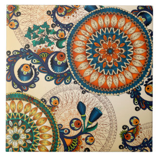 Boho Funky Trendy Retro Abstract Pattern Tile