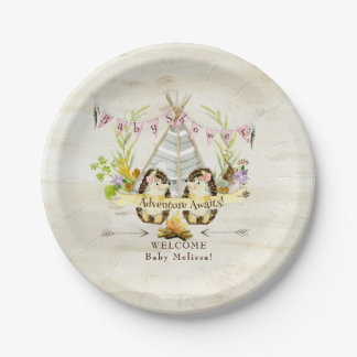 BOHO Girl Baby Shower Hedgehog Adventure Awaits Paper Plate