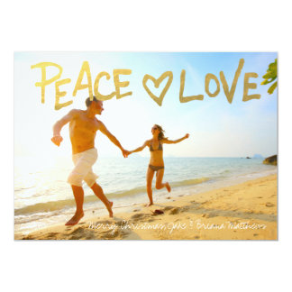 Boho Gold Peace Love Handwritten Typography 13 Cm X 18 Cm Invitation Card