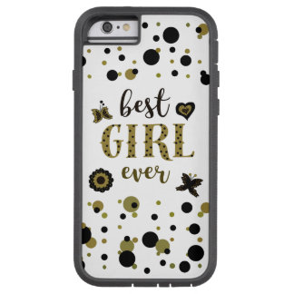 Boho Golden Black Dots Confetti Best Girl Spring Tough Xtreme iPhone 6 Case
