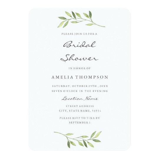 Boho Green Leaf Watercolor Bridal Shower Card