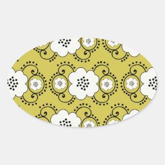 boho green white shabby chic flower damask sticker