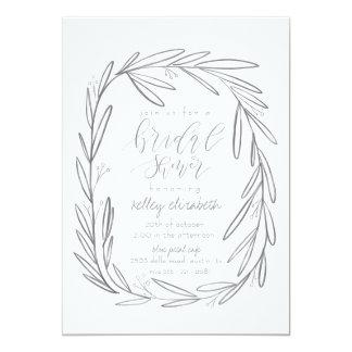 Boho grey bridal shower invitation card