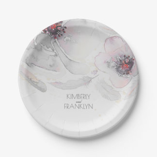 Boho Grey Pink Floral Feathers Watercolor Wedding Paper Plate