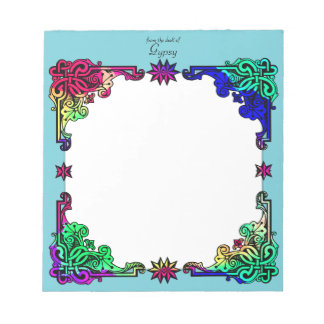 Boho Gypsy Floral Bohemian Colorful Folk Art Notepad