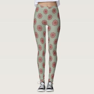 Boho Hippie Heart Flowers Leggings