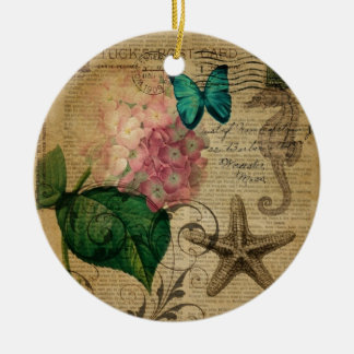 boho Hydrangea butterfly starfish French Botanical Christmas Ornament