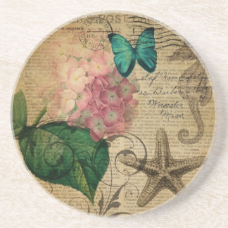 boho Hydrangea butterfly starfish French Botanical Coaster
