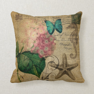 boho Hydrangea butterfly starfish French Botanical Cushion