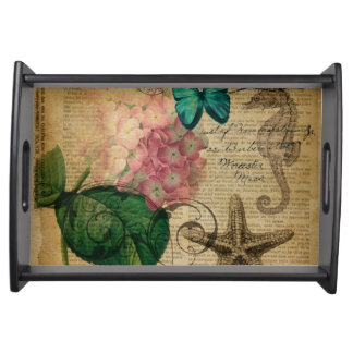 boho Hydrangea butterfly starfish French Botanical Serving Tray
