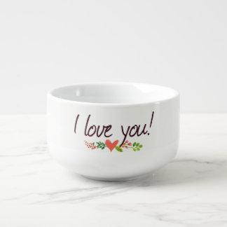 "Boho ""I Love You with Heart"" Design | Soup Bowl"