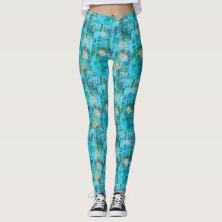 boho leaf print leggings