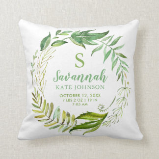 Boho Leaves Personalized Baby Birth Stats Cushion