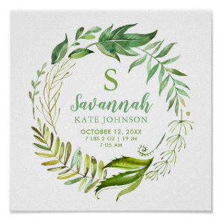 Boho Leaves Personalized Baby Birth Stats Poster