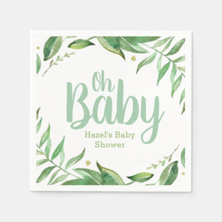 Boho Leaves Personalized Baby Shower Disposable Serviette