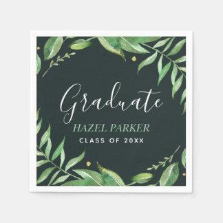 Boho Leaves Personalized Graduation Disposable Napkin