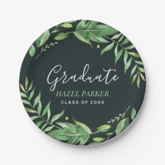 Boho Leaves Personalized Graduation Paper Plate