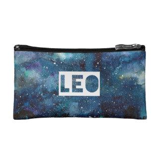 Boho Leo Zodiac Star Sign Blue Galaxy Print Makeup Bag